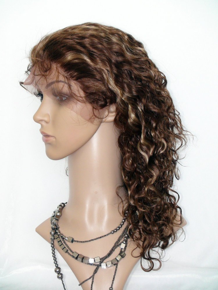 SINA Lace Front Wig Mixed Color #4/27 Virgin Brazilian 10 inch Curly Soft Human Hair Lace Wig Remy Hair Lace Front Wig Curl No Shed No Tangle
