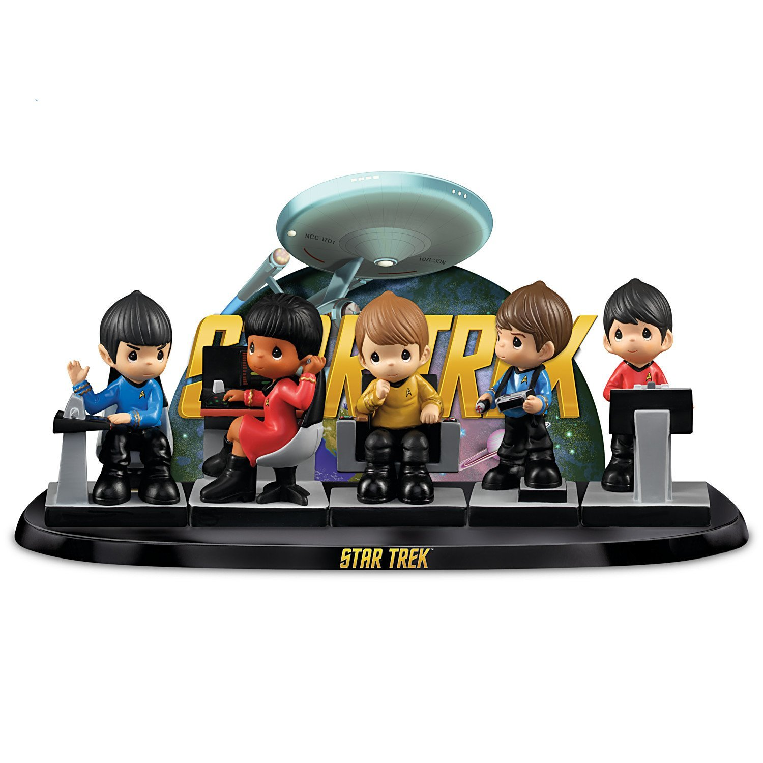 Precious Moments STAR TREK Figurine Set and Display with Starship Enterprise by The Hamilton Collection