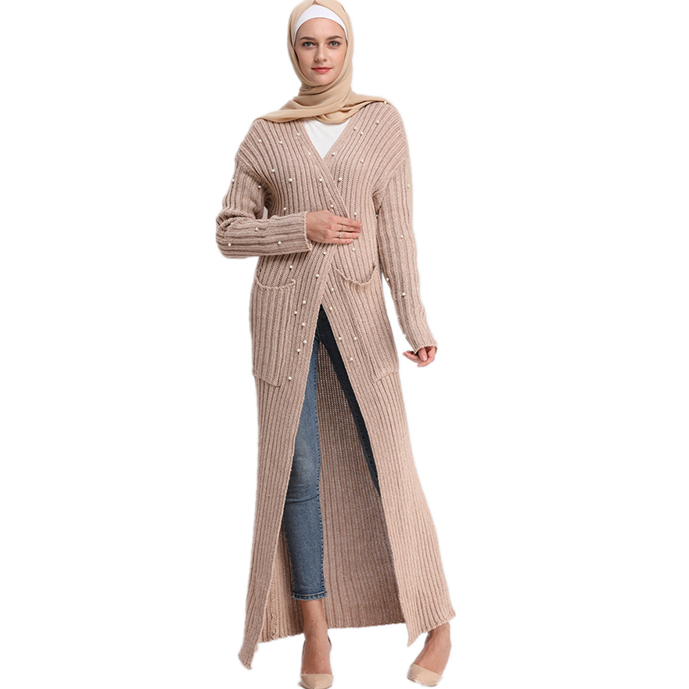 New Arrival Modest Women Winter Thick Stretchy Pearl Knitted Sweater Casual <strong>Long</strong> <strong>Cardigan</strong>