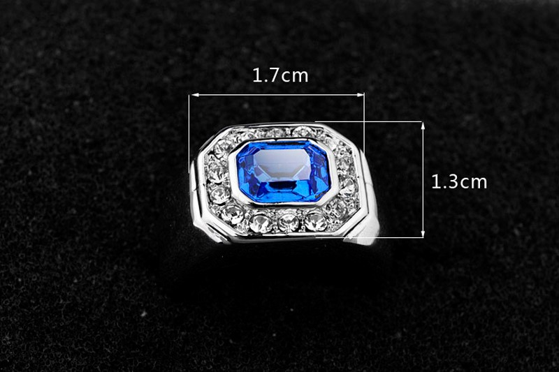 Best Selling White Blue Two Stone Square Crystal Ring White Gold Men Sapphire Rings fine gemstone lovers ring for men and women