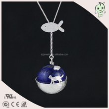 The Cat Travel World Magical Design Creative Imagine Women Jewelry 925 Sterling Silver Pendant