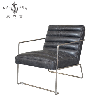 Retro Leather Chair Vintage Metal Frame With Arms K509