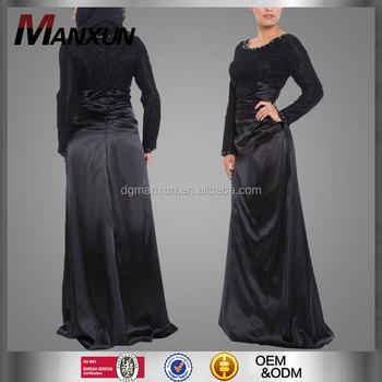357060dcdd7d12 Zwarte moslim fancy lange maxi jurk lange mouwen maxi abaya jurk indonesië