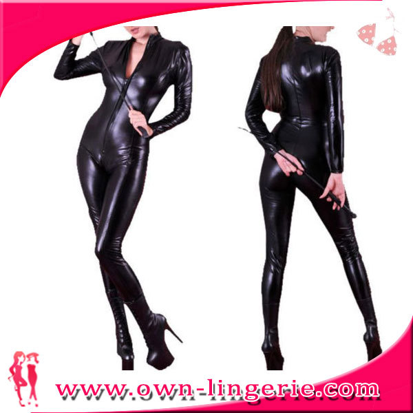 f9af23024 Hot Sexy Black Catwomen Jumpsuit Catsuit Costumes Lady Clubwear Body Suits  Faux Leather Zipper Women Dress