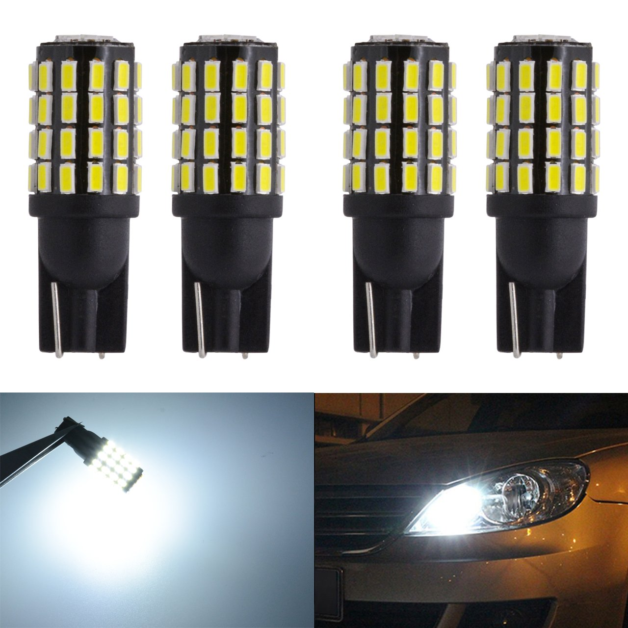 KaTur 4pcs Extremely Bright 800 Lumens High Power T10 168 175 194 2825 W5W 3014 Chipsets 54SMD LED Bulbs Front Rear Sidemarker Light Bulbs License Plate Parking Tail Back Up Light 12V-24V Xenon White