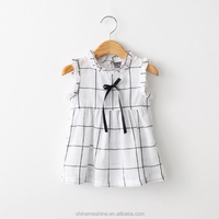 MS64594C summer fashion plaid girls dresses kids summer wear