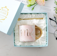 Valentine Wedding gift Marble like mugs Ceramic Mr&Mrs coffee cup gold edge customized logo gift box set