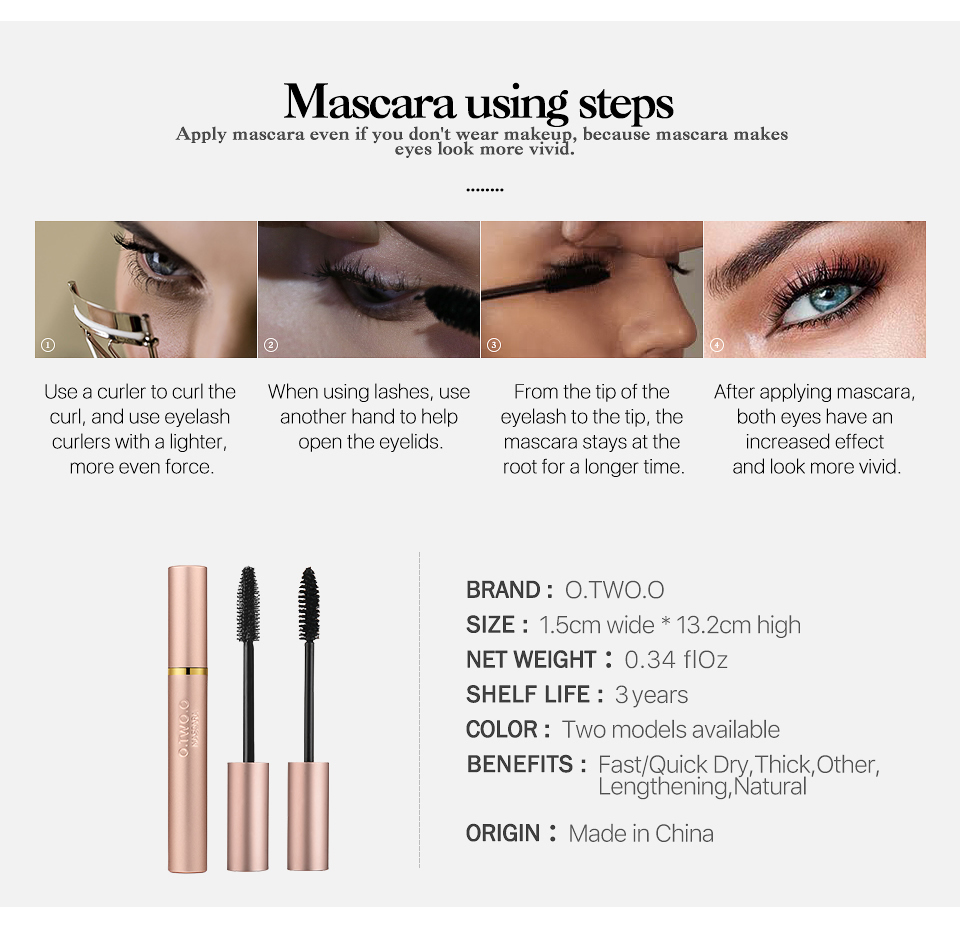 O.TWO.O Big Fatty  Mascara Lashes Thicken Lengthen Waterproof Mascara
