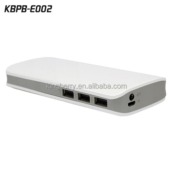 High capacity 20000mAh rechargeable 3 usb port portable power bank for iPhone