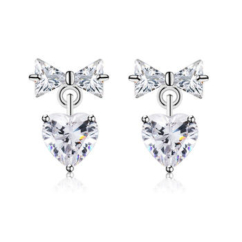 Xe2069 Xuping Heart Bowknot Stud Diamond Earring Small Gold Earrings Jewelry Whole Thailand