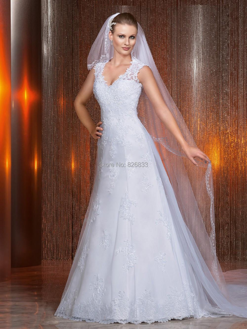 Vintage Cap Sleeves Lace V Neck Wedding Dresses Open Back ...