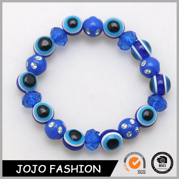 Promotion Wholesale Men And Women Bracelet Blue Eyeball Beads And Blue Oblate Faceted Beaded Bracelets
