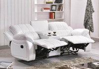 Unique design white genuine leather sofa living room loveseat recliner sofa set