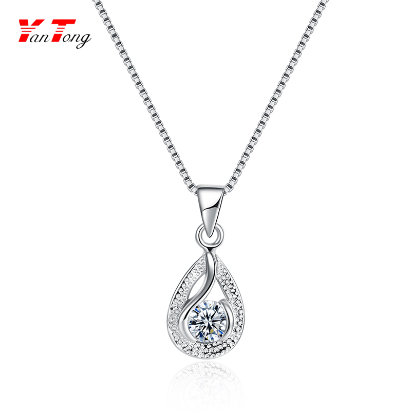 High Quality 925 Sterling Silver Water Drop Pendant Italian Crystal Pendant Bridal Wedding Necklace
