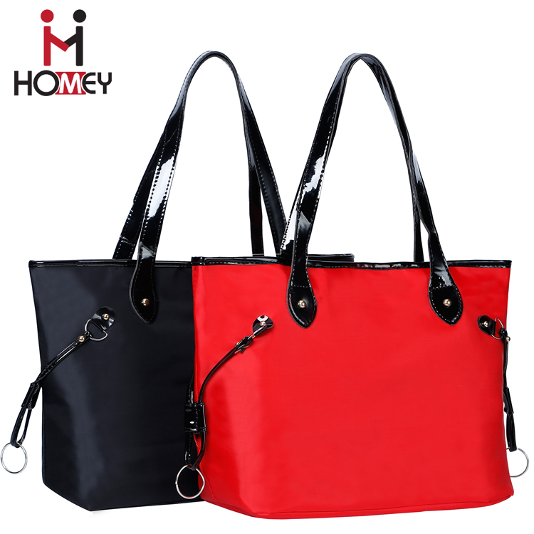 2016 Fashion polyester large women leather tote bag , standard wholesale black designer handbag for women