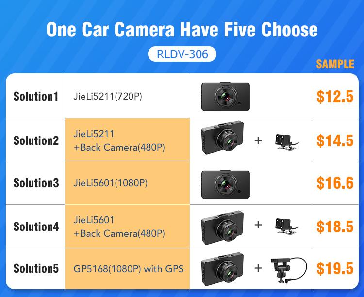 新しい Jieli チップセット 3 インチ車のブラックボックス 720 1080p 車カメラダッシュカム