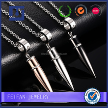 Fashionable stainless steel rocket shaped pendant necklace with 3 colors for men