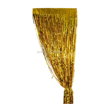 New Fashion Tinsel 13M Party Decoration Curtains Gold Metallic Foil