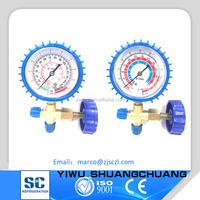 CT-466 Blue Low&High pressure gauge valve three way mainfold gauge single gauge valve for air conditioner