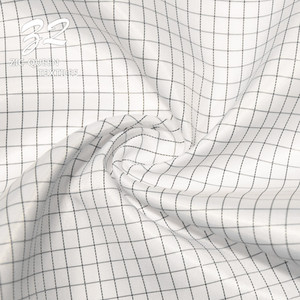 Work Wear Clothes Uniforms Material 100% Polyester Plaid Electrically Conductive Fiber Fabric