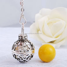 Silver jewelry new design Wholesale smile face silver cage with yellow Chime ball pendants baby caller pendants for H49A04