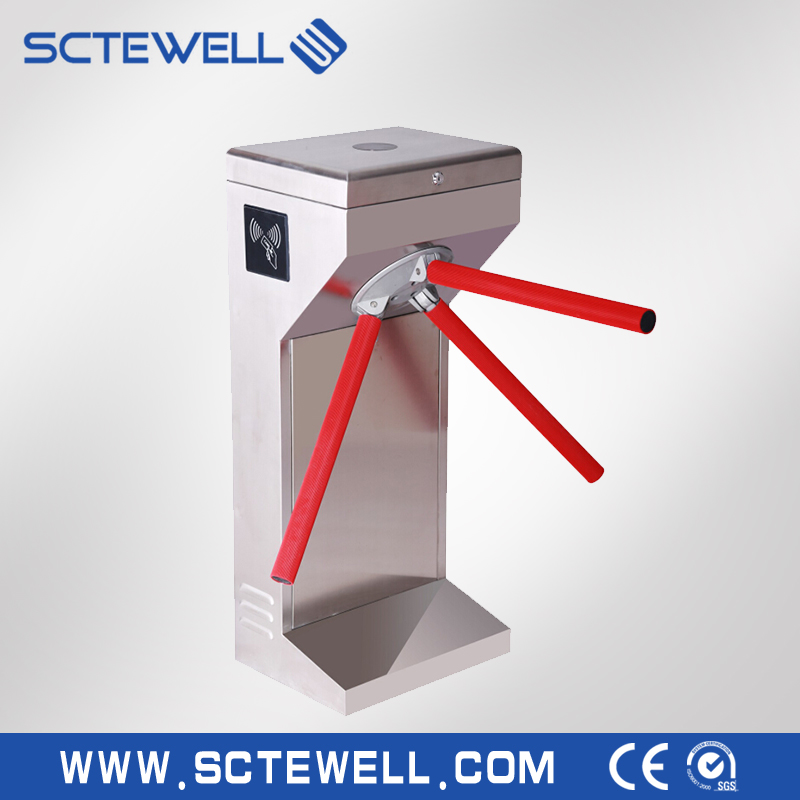 crowd management and access control mechanisms by waist-high tripod turnstiles
