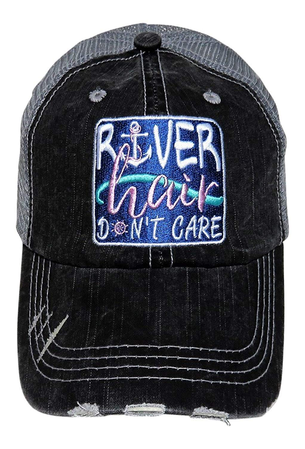 """Embroidered """"River Hair Don't Care"""" Patch Grey Trucker Cap Fashion"""