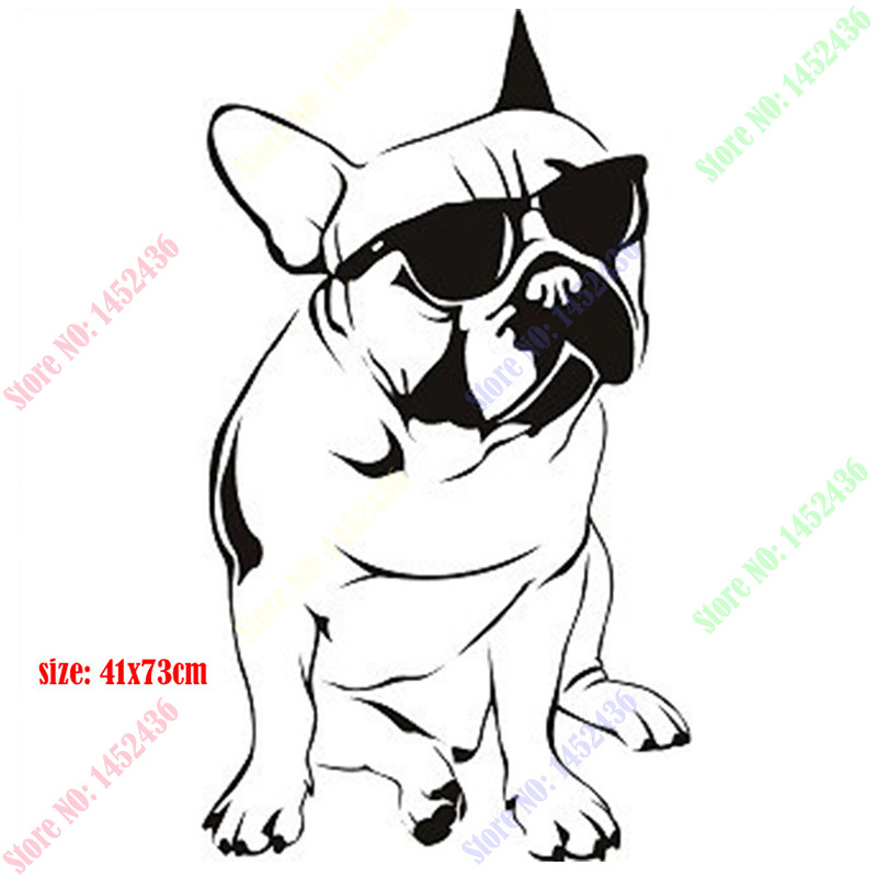 2015 French Bulldog Sunglasses Dogs Wall Stickers Decal DIY Home Decoration Wall Mural Removable Bedroom Sticker 41x73cm