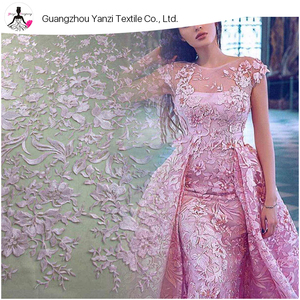 Pink Sequin Lace Bridal Fabric Vintage Style Wedding Lace Fabric Haute Couture Lace Fabric