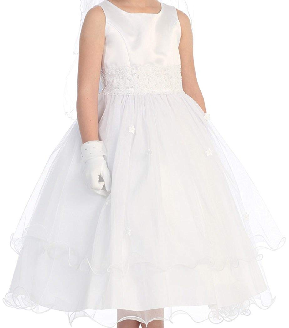 0461a5414 Get Quotations · BluNight Collection Holy Communion First Communion Girl  Dress Tulle Bridesmaid Flower Girl Dress