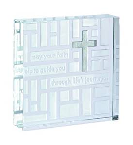 Beautiful, high quality, medium, glass, cross, glass block, from the 'Christening Range' by 'Spaceform'. An ideal christening gift (1515)