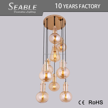 Post modern style amber and smoke gray glass lighting chandelier