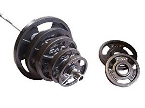CAP Barbell OSHB 300 pound Olympic Barbell Set - Olympic Bar and Cast Iron Olympic Grip Plates for Weight Lifting