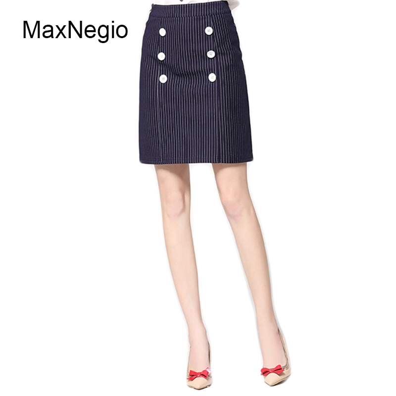 46ef30f47db2c Maxnegio nuevo estilo casual señoras moda a-line falda de la raya azul alta  cintura