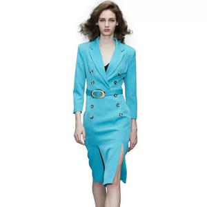 Slim fit 2 piece women elegant skirt suits for office ladies suits blue ladies suit
