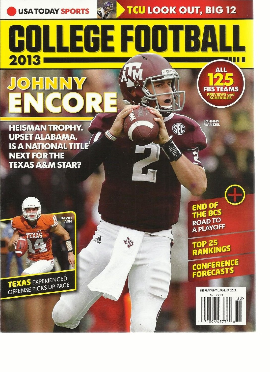 USA TODAY SPORTS, COLLEGE FOOTBALL, 2013 ( TCU LOOK OUT BIG 12 * TOP 25 RANKINGS
