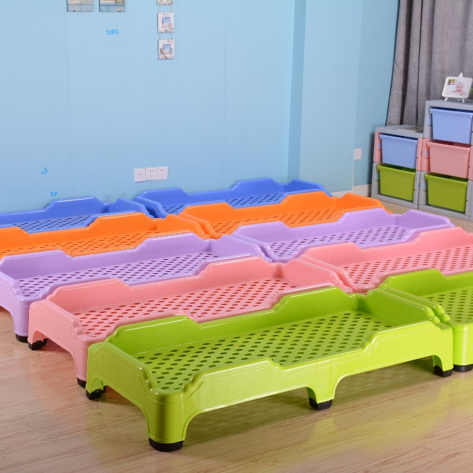 Professional company children school furniture stackable cheap plastic kids cot bed