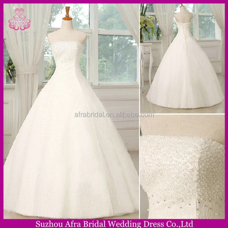 SW656 elegant strapless A line custom cheap lace white wedding dress