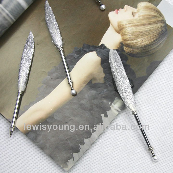 Hight grade gift silver bling feather ball pen,Mini balll pen with pearl cap