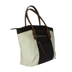 Stock Fabric Large Polyester Beige Brown Short Handle Messenger Tote Handbag with Metal Trim