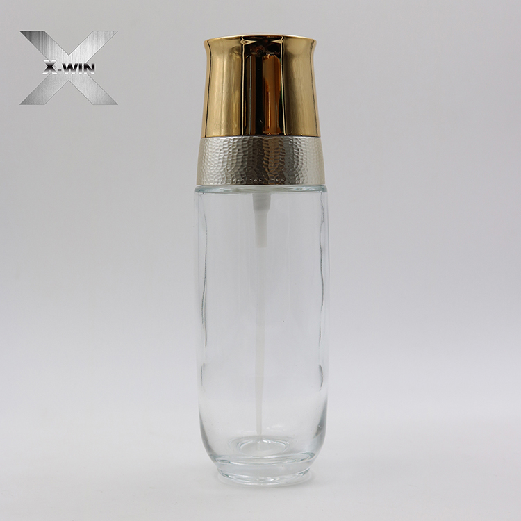 rose red glass bottle with gold/silvery cap water emulsion bottle 30ml50ml100ml120ml