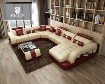 Contemporary Alibaba Sofas Top Grain Genuine Leather Sofa