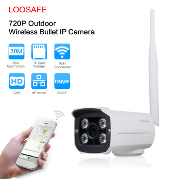 LOOSAFE outdoor surveillance camera onvif wifi 1MP 2.4G HD IP Cam SD Card Storage Wireless infrared Waterproof camera