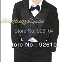 Free shipping new tuxedo for boy suit Vest child clothing black or White 5 pcs set