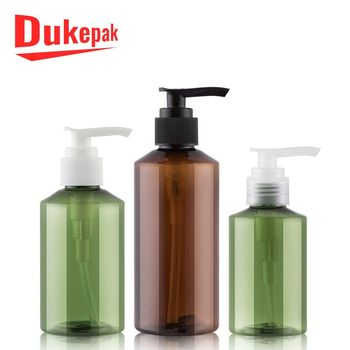 Luxury 150ml 500 ml green amber plastic shower gel bottle with squeeze pump