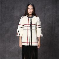 European fashion women clothes white coat with simple pattern