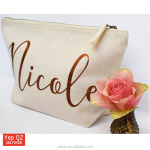 Top quality yiwu factory supply wedding favor cosmetic bag recycled custom rose gold makeup bag