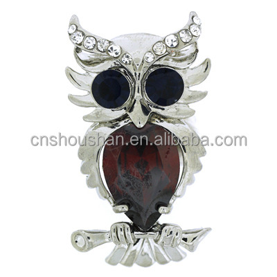 Crystal Owl on a Branch Brooch with Jet Black Eyes