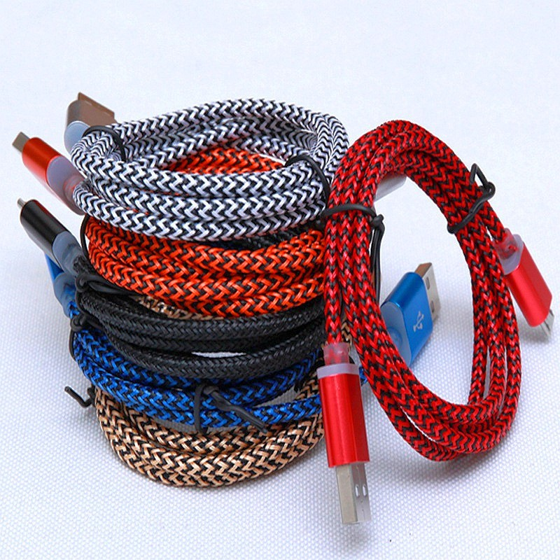 2018 High Speed Metal Head 1M/ 3FT Nylon Braided Micro USB Cable For iPhone 6,7,8,Plus, Android