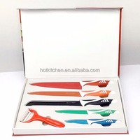 Low Price Colorful Non-Stick Coating 6pcs Royal Swiss Line Kitchen Knife Set